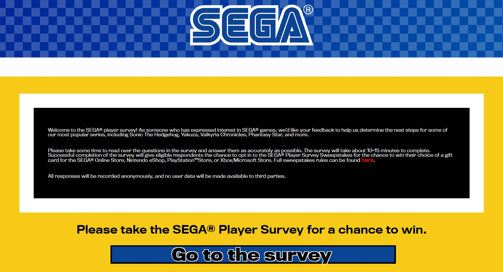 New Us Sega Survey Asks Fans To Determine Next Steps For Sonic The Hedgehog Yakuza Valkyria Chronicles Phantasy Star Franchises Segadriven