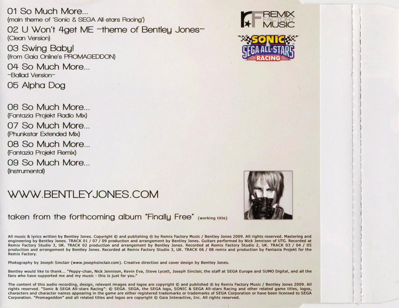 Bentley Jones – So Much More… Main Theme of Sonic & SEGA All-Stars